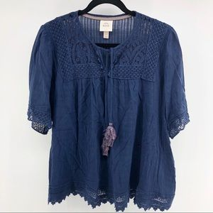 Knox Rose Blue Navy Embroidered Tassel Blouse